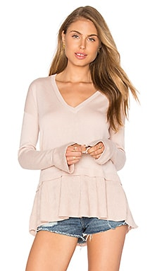 Central Park West Lucerne Ruffle V Neck Sweater in Blush
