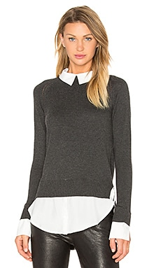 Central Park West x REVOLVE The Nantucket Sweater in Charcoal & White