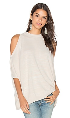 Central Park West Modena Cold Shoulder Sweater in Oatmeal & White