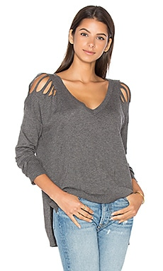 SWEAT DÉCOLLETÉ V DISTRESSED LUCERNE