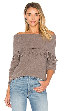 Palermo Off Shoulder Fringe Sweater in Toast