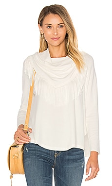 Toulouse Fringe Turtleneck Sweater en Blanco Invierno