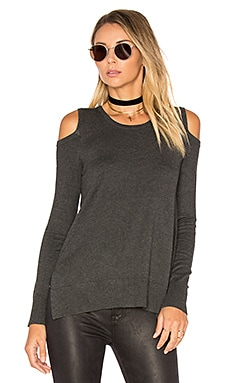 Brighton Cold Shoulder Sweater in Charcoal