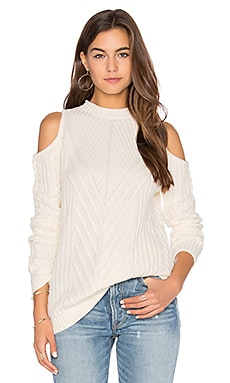 Bruges Cold Shoulder Sweater in Winter White