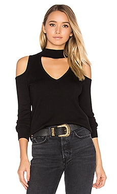 Baton Rouge Cold Shoulder Turtleneck Sweater in Black