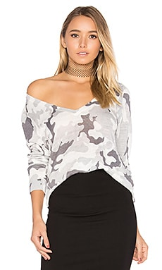 Kiawah V Neck Sweater in White Camo
