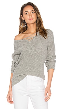 Leeds Lace Up Sweater in Grey