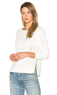 Savannah Distressed Sweater in White