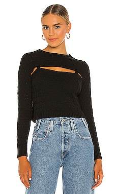 Aviva Cable Long Sleeve Sweater Central Park West $174 NEW