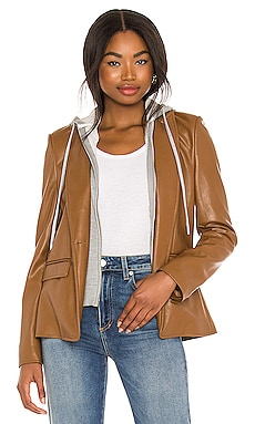 Maia Faux Leather Dickey Blazer Central Park West $260