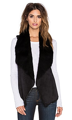 Central Park West Faux Fur Alta Vest in Black