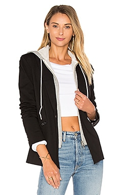 Hooded Blazer Jacket in Schwarz
