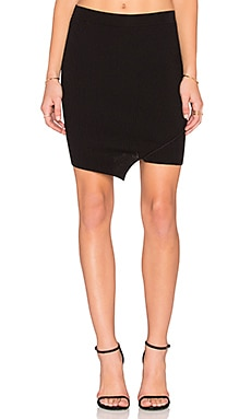 Central Park West Queensland Asymmetric Mini Skirt in Black