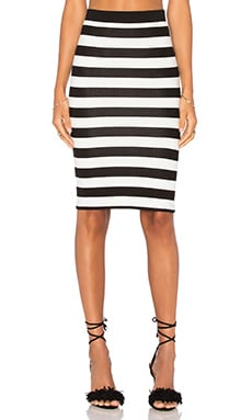 Central Park West Corfu Midi Skirt in Black & White