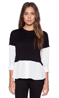 Central Park West Columbus Layered Long Sleeve Top in Black & White