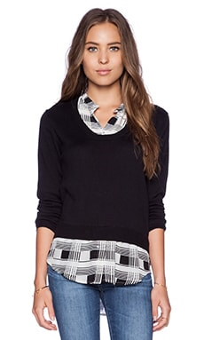 Central Park West Collared Pullover Sweater in Black Plaid