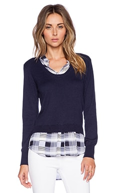 Central Park West Collared Pullover Sweater in Blue Plaid