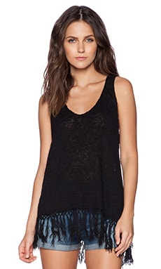 Central Park West Fringe Tank in Black