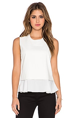 Central Park West Banff Layered Faux Leather Tank in Ivory