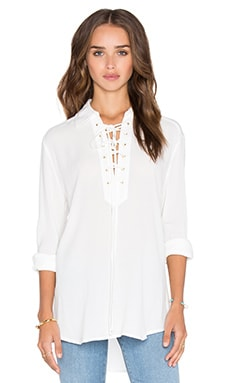 Central Park West Turin Lace Up Top in White