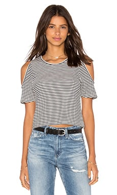 Central Park West Corfu Cold Shoulder Top in Black & White