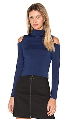 Irving Place Cold Shoulder Crop Top in Navy