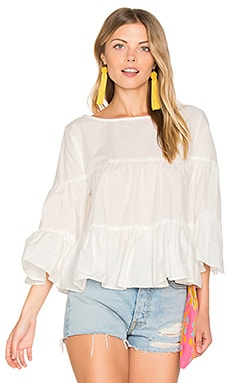 Palm Beach Ruffle Top in White
