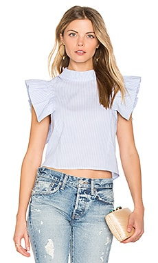 Palm Beach Ruffle Crop Top in Stripe