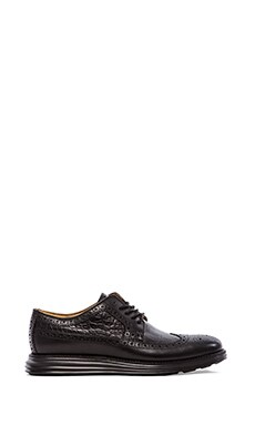 Cole Haan Lunargrand Long Wing Tip in Black Croc Black