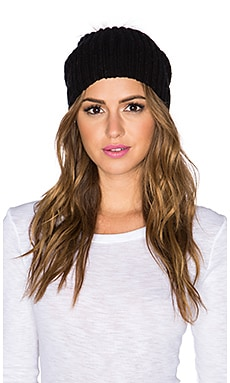 CHARLI Margaret Beanie with Racoon Fur Pompom in Black