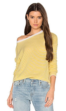Clarisse Stripe Cashmere Sweater in Canary & Ivory Stripe