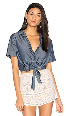 Sarai Tie Front Button Up in Chambray