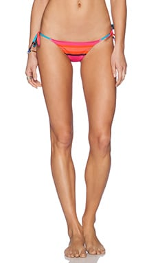 Charlie by Matthew Zink Charlie String Bikini Bottom in Turquoise & Coral Stripe