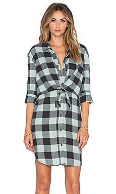Cheap Monday Unfinished Edge Flannel Dress in Green Mist