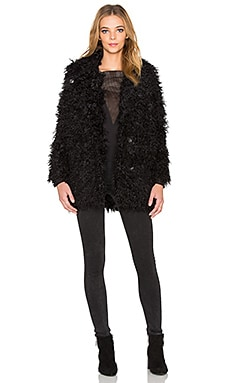 Cheap Monday Curl Faux Fur Jacket in Punk Black