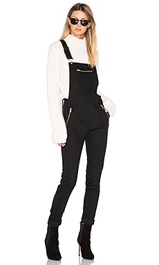 Dungaree Zip Overall in Black
