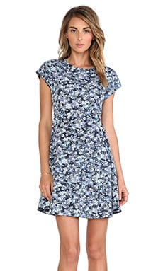 Charles Henry Cap Sleeve Dress in Blue Floral