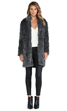Charles Henry Faux Fur Cocoon Coat in Grey