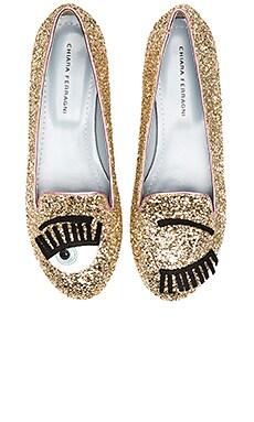 Chiara Ferragni Flirting Sleeper Loafer in Gold & Pink