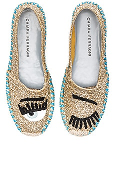 Chiara Ferragni Contrast Stitching Espadrille in Gold & Turquoise