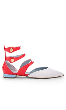 Pointy Ankle Sandal in White & Coral
