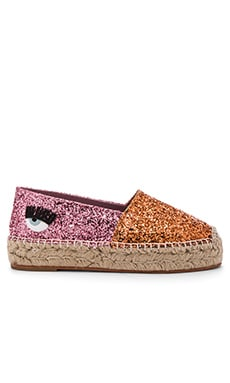 Two Tone Espadrille in Orange & Fuchsia