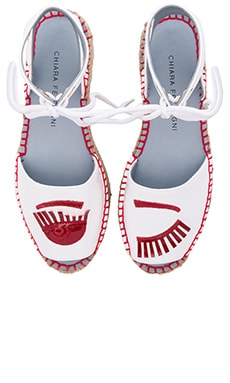 Chiara Ferragni Ankle Strap Espadrille in White & Red