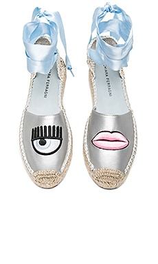Ankle Tie Espadrille in Silver