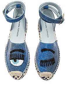 Ankle Tie Espadrille in Blue Jean