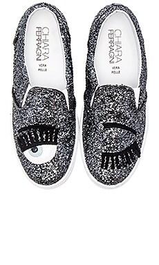 Chiara Ferragni Wink Slip-On Sneaker in Silver & Blue
