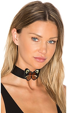 Monarch Leather Choker in Black Python