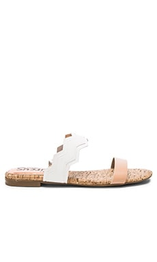 Gia Sandal in Naked Natural & Stark White