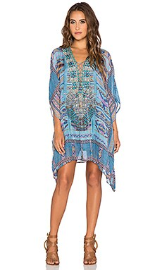 Camilla Lace Up Mini Caftan in Stitch of the Condor