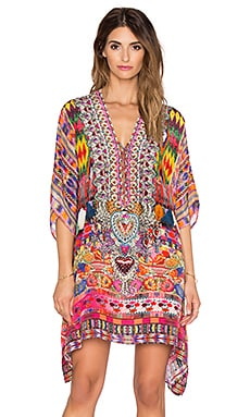 Camilla Lace Up Mini Caftan in Tassel Me Chiapas